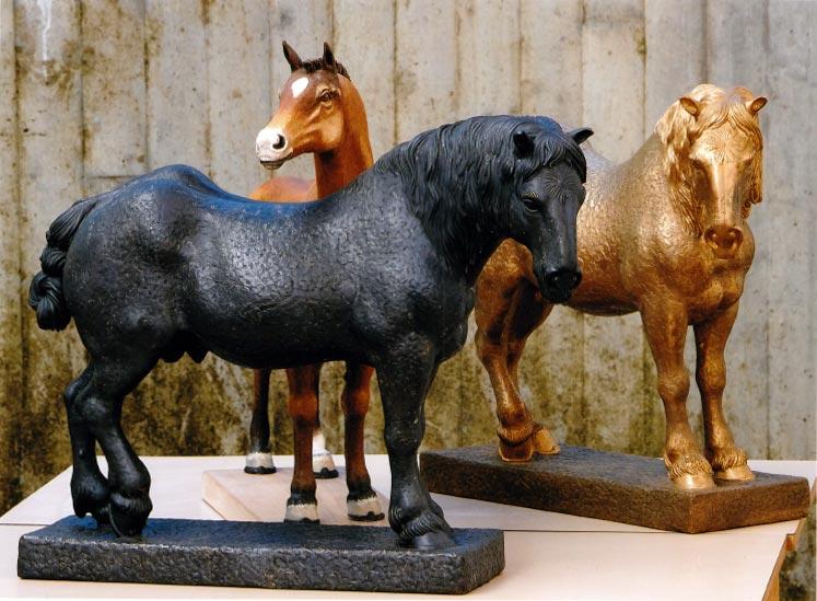 Noriker Pferde aus Bronze